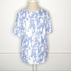 Madison Abstract Print Short Sleeve Blouse Large
